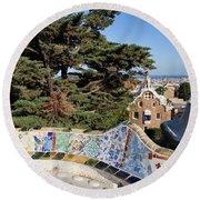 Serpentine Bench In Park Gueli In Barcelona Round Beach Towel
