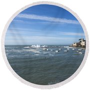 Sestri Levante With The Sea Round Beach Towel