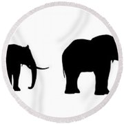 Seven Elefants In Line Silhouette Round Beach Towel