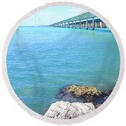 Seven Mile Bridge-2 Round Beach Towel