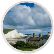 Seven Sisters Cliffs And Coastguard Cottages Round Beach Towel