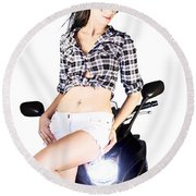 Sexy Biker Girl Round Beach Towel