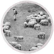 Shepherd With Sheep  Round Beach Towel