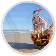 Ship Model On Summer Sunny Beach Round Beach Towel by Michal Bednarek