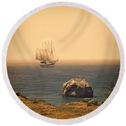 Ship Off The Coast Round Beach Towel