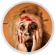 Shocked Horror Halloween Zombie With Hands Face Round Beach Towel