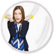 Shocked Woman With Ideas Of Business Innovation Round Beach Towel