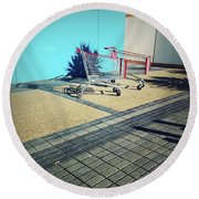 Shopping Trolleys  Round Beach Towel by Les Cunliffe