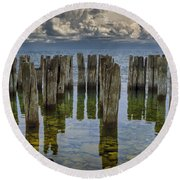 Shore Pilings At Fayette State Park Round Beach Towel
