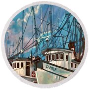Shrimpboats Round Beach Towel