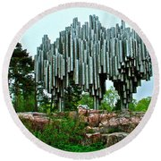 Sibelius Memorial Park In Helsinki-finland Round Beach Towel