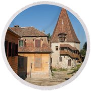 Sighisoara Transylvania Medieval Historic Town In Romania Europe Round Beach Towel