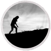 Silhouette Of Girl Pointing Round Beach Towel