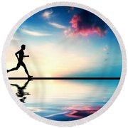 Silhouette Of Man Running At Sunset Round Beach Towel by Michal Bednarek