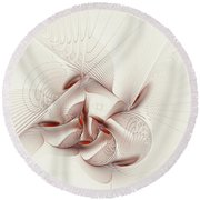 Silver And Red Round Beach Towel by Deborah Benoit