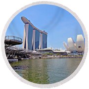 Singapore Artscience Museum Double Helix Bridge And Marina Bay  Round Beach Towel
