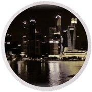 Singapore Skyline As Seen From The Pedestrian Bridge Round Beach Towel