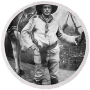 Sir Genille Cave Brown Cave (1869-1929) Round Beach Towel