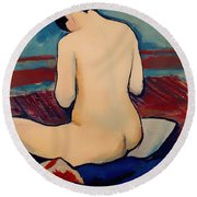 Sitting Nude With Pillow Round Beach Towel