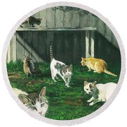 Six Cats Round Beach Towel