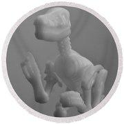 Skeleton Dinosaur In Black And White Round Beach Towel