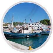 Skiathos Town Harbour Round Beach Towel