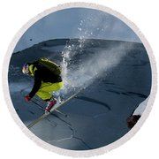Skier Jumping On A Sunny Day Round Beach Towel