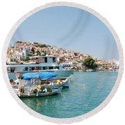 Skopelos Harbour Greece Round Beach Towel