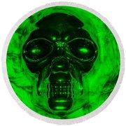 Skull In Green Round Beach Towel