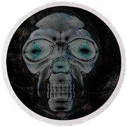 Skull In Negative Round Beach Towel