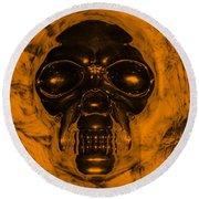 Skull In Orange Round Beach Towel