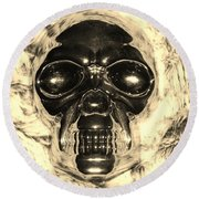 Skull In Sepia Round Beach Towel