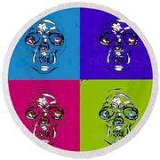 Skulls In Quad Colors Round Beach Towel
