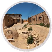 Sky City Acoma Pueblo Round Beach Towel