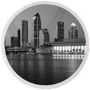 Skyline Of Tampa Along Waterfront Round Beach Towel