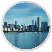 Skylines At The Waterfront, Lake Round Beach Towel