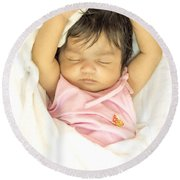 Sleeping Baby Round Beach Towel