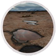 Slickrock In Arches National Park Round Beach Towel