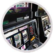 Slot Machines At An Airport, Mccarran Round Beach Towel