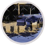 Small Boats And Dock In Port Clyde Maine Round Beach Towel