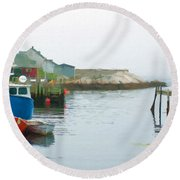 Boats In Peggy's Cove Round Beach Towel