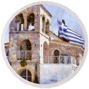 Small Greek Church Round Beach Towel