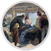 Smallpox Vaccination, 1885 Round Beach Towel