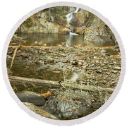 Smalls Falls In Autumn Western Maine Round Beach Towel