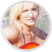 Smiling Female Guitarist Round Beach Towel