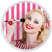 Smiling Makeup Girl Using Cosmetic Powder Brush Round Beach Towel