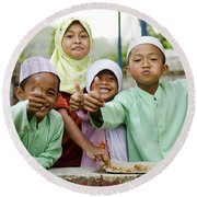 Smiling Muslim Children In Bali Indonesia Round Beach Towel