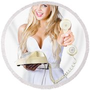 Smiling Woman With Retro Telephone Round Beach Towel