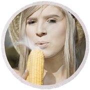 Smoking Hot Corn Cob Woman Round Beach Towel