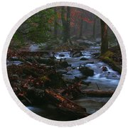 Smoky Mountain Color Round Beach Towel